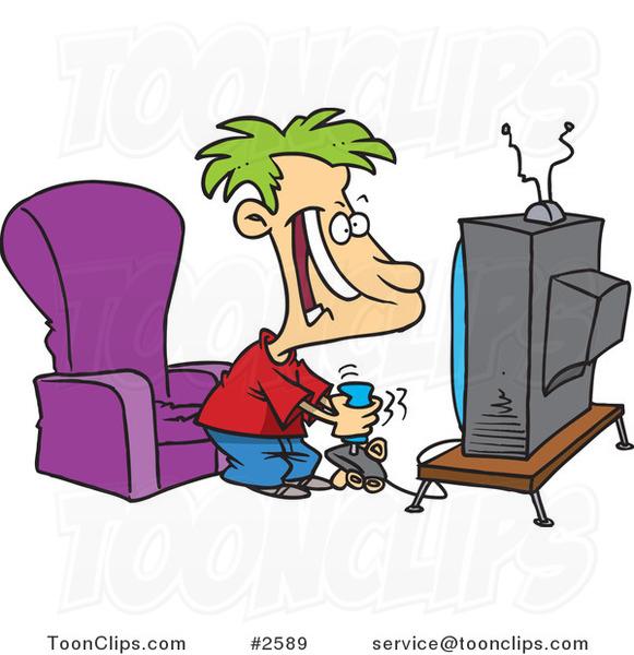 Free image/jpeg, Resolution: 581x600, File size: 85Kb, Cartoon Boy Playing Video Games Wallpaper